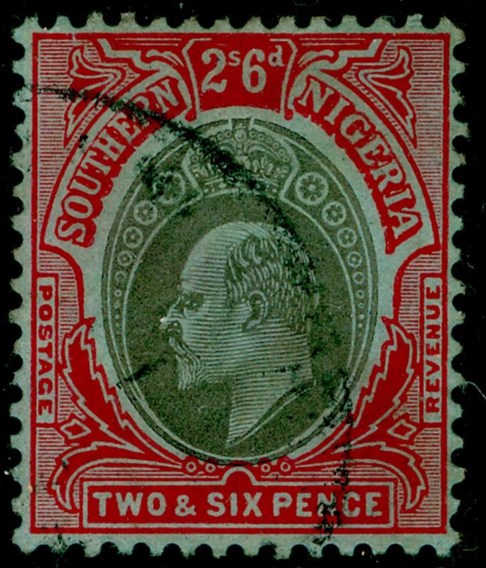 SOUTHERN NIGERIA SG41, 2s 6d black & red/blue, FINE used.