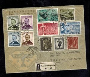 1950 Luxembourg Registered Cover to USA # B152-B155 complete set