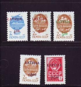 Latvia Sc 327-31 1992  Russian stamps ovptd LATVIJA NH