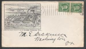 Scott # 279 (pr), J.L. Clark Spring Cushion Mfg, Oshkosh WI