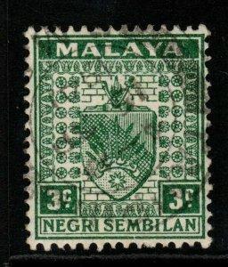 MALAYA NEGRI SEMBILAN SG24 1941 3c GREEN FINE USED
