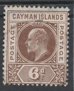 CAYMAN ISLANDS 1905 KEVII 6D WMK MULTI CROWN CA USED