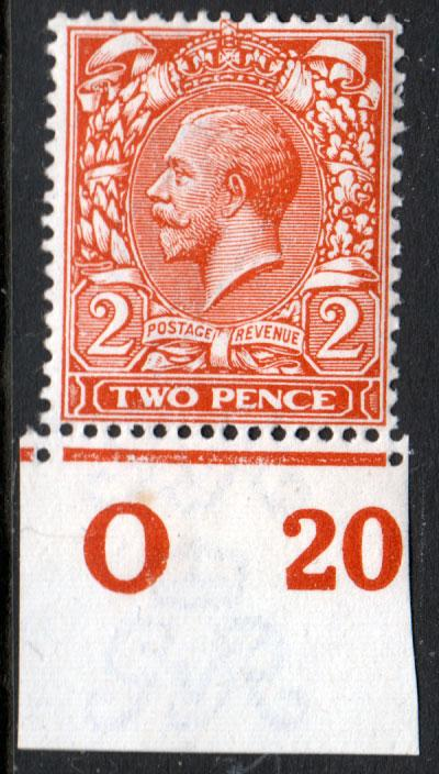 GB KGV 1912 1d Orange SG368 Control O20 Mint Hinged