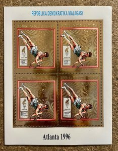 Stamps Gold Minisheet Olympic Games Atlanta 96 Madagascar Perf.