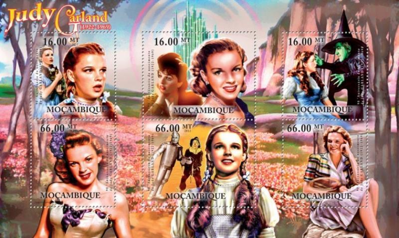 Mozambique MNH S/S Cinema Actress Judy Garland 2012 6 Stamps
