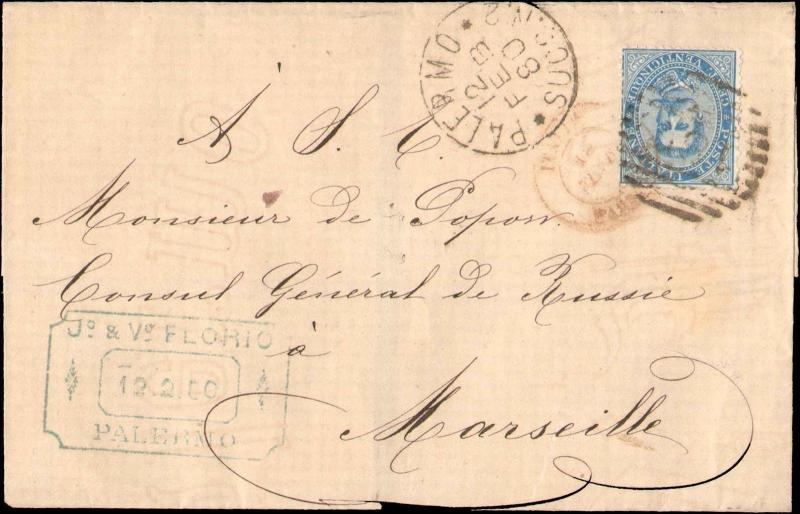 1880 ITALY SINGLE ON FOLDED COVER SHEET TO FRANCE