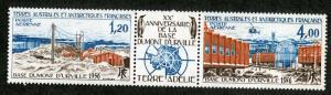 FRENCH SOUTH ANTARCTIC TERR C45a MNH STRIP OF 3 SCV $24.00 BIN $15.00