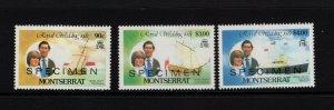 Montserrat #465/467/469 VFMNH Royal Wedding set overprinted Specimen