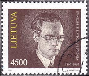 Lithuania # 448 used ~ 4500k Vincent Mykolaitis Putinas, Philosopher