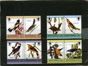 MONTSERRAT 1985 Sc#580-583 FAUNA/BIRDS 4 PAIRS STAMPS MNH