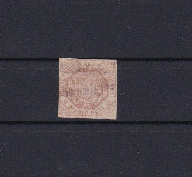 VENEZUELA 1866 IMPERF STAMP USED ½ REALE RED   REF 6235
