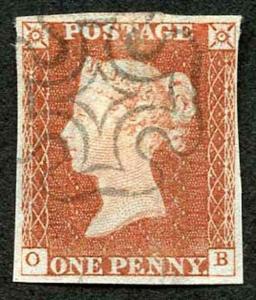 1841 Penny Red (OB) Very Fine Scottish Cross Four margins