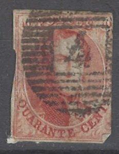 COLLECTION LOT # 1989 BELGIUM #8 1851  CV= $110 FAULTY MAJOR TEAR