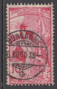 Switzerland Sc 102 used. 1900 10c carmine rose UPU Allegory re-engraved, sound.