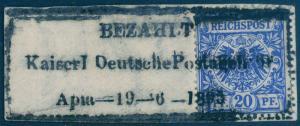 Germany 1895 Samoa MiV48 BEZAHLT PAID Vorlaufer Forerunner Expertized 85635