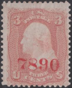 #65S J 3¢ BROWN RED OVERPRINT - RARE #7890 IN CARMINE HV800