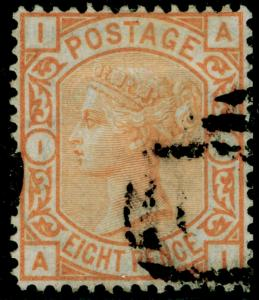 SG156, 8d orange, FINE USED. Cat £350. AI