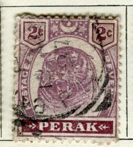 MALAYA PERAK; 1895 early classic Tiger issue fine used 2c. value