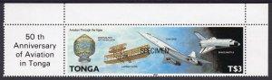 TONGA 1989 Sc#724 CONCORDE-HOT AIR BALLON-SPACE SHUTTLE (1) SPECIMEN MNH