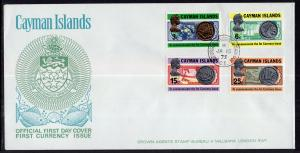 Cayman Islands 306-309 Coins on Stamps U/A FDC