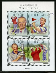 TOGO 2020 80th ANNIVERSARY OF  JACK  NICKLAUS SHEET MINT NEVER HINGED