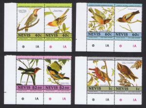 Nevis Birds Audubon 2nd issue 8v Corner pairs with margins SG#285-292 SC#418=424