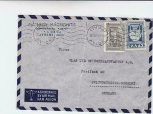 Greece 1952  commercial agent   airmail stamps cover to  germany  r19735