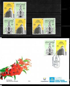 URUGUAY 2020 UPAEP ARCHITECTURE COMBO,PAIR+BLOCx4+FDC MNH
