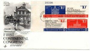 US FDC #1546a Continental Congress Plate Block, ArtCraft (6006)
