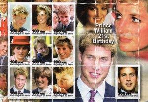 Benin 2003 Prince William 21st.Birthday-Princess Diana Sheetlet (9) MNH
