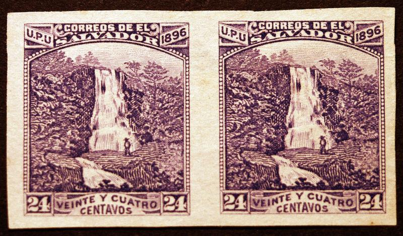 Salvador #154 24c Rare Violet Not Blue 1896 Imperf Pair Scarce Stamp Pair