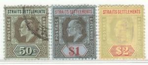 Malaya Straits Settlements 1909-1910 KE VII 3V Used wmk MCCA SG #164-166 M1423