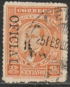 MEXICO O182a, 8¢ OFFICIAL opt. reading down. Used. F-VF. (1217)