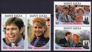 St.Lucia 1986 Royal Wedding Congratulations ovpt.Silver 2 Pairs MNH