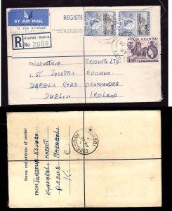 Kenya registered letter to Ireland - Kisumu , Kenya - 22 My 1957- registration l