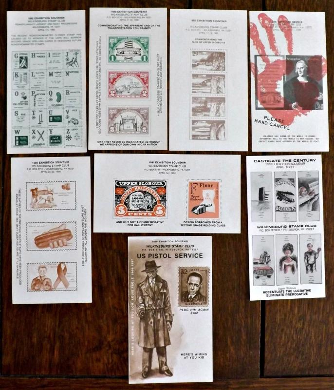 1990s Wilkinsburg, PA. Stamp Club Exhibition Souvenir Sheets - 8 Issues -