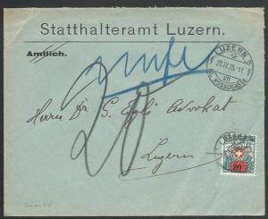 SWITZERLAND 1925 local Luzern cover - 20c on 50c Postage Due...............58390