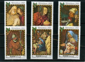 MANAMA 1969 Mi#217-222A CHRISTMAS PAINTINGS SET OF 6 STAMPS MNH
