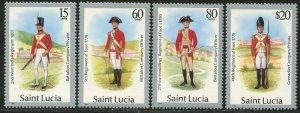 ST. LUCIA Sc#876-879 1987 Military Uniforms New Values Complete Set OG Mint NH