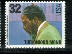 2990 Thelonious Monk (Jazz Composer & Pianist) Mint/nh Free Shipping