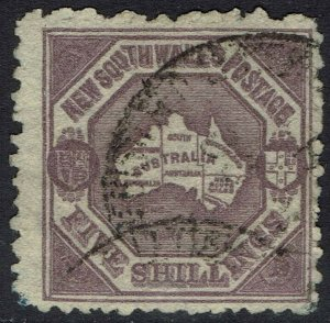 NEW SOUTH WALES 1888 MAP 5/- WMK 5/- USED