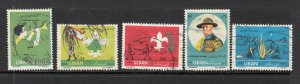 LEBANON STAMPS - LIBAN USED SC# 376-380 SCOUTISM