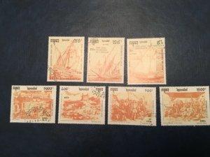 ICOLLECTZONE Cambodia #1167-73 XF Used Ships (Bk1-30)