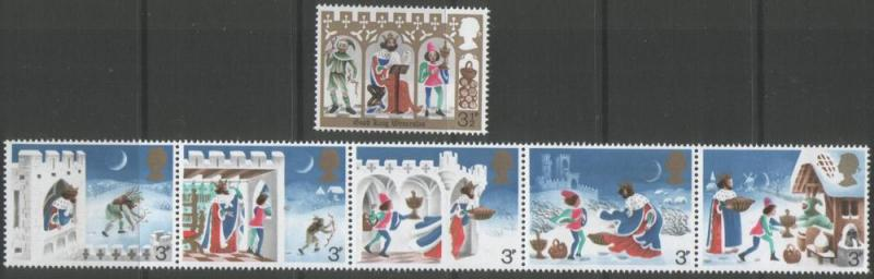 Great Britain 1973 Christmas Set of (6) Scott #709/714
