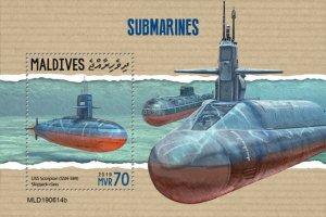 MALDIVES - 2019 - Submarines - Perf Souv Sheet - MNH