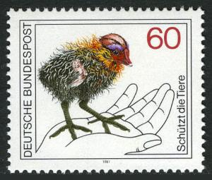 Germany 1355, MNH. Wildlife Protection. Baby coot, 1981
