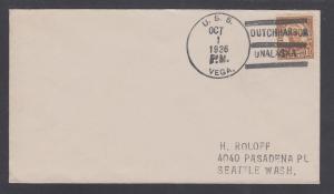USS VEGA, October 1, 1936 DUTCH HARBOR / ONALASKA CDS & 3 Bars cancel