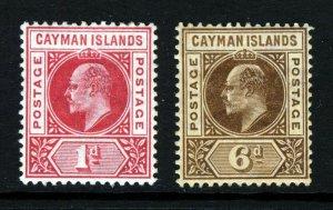 CAYMAN ISLANDS KE VII 1902-05 1d. Carmine CCA & 6d. Brown MCCA SG 4 & SG 11 MINT
