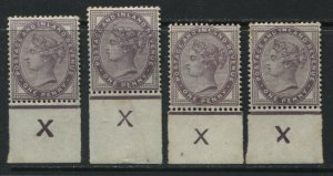 GB QV 1881 1d lilac 16 dots, 4 different X Control marginal singles mint o.g.
