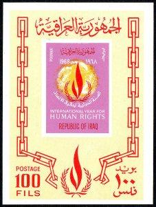 Iraq 484a S/S, MNH. Intl. Hunan Rights Year. Flame, 1968